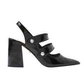 Gabriella Black Cross Strap Slingback Heel Shoes