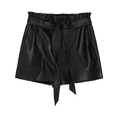 Faux Leather Paper Bag Bermuda Shorts