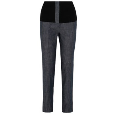 Camille Ribbed Jersey-Trimmed High-Rise Straight-Leg Jean