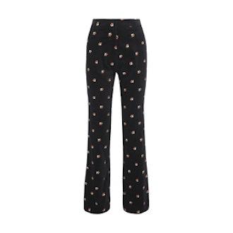 Embroidered Cotton-Belt Straight-Leg Pants