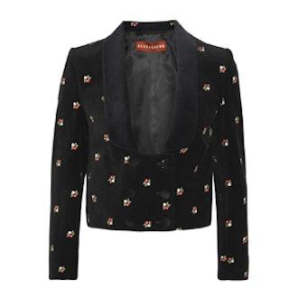 Embroidered Cotton-Velvet Tuxedo Jacket