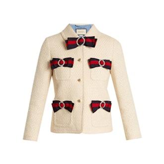 Bow Detail Tweed Jacket