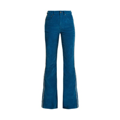 High-Rise Cotton-Blend Corduroy Flared Trousers