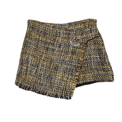 Tweed Skort With Frayed Edges