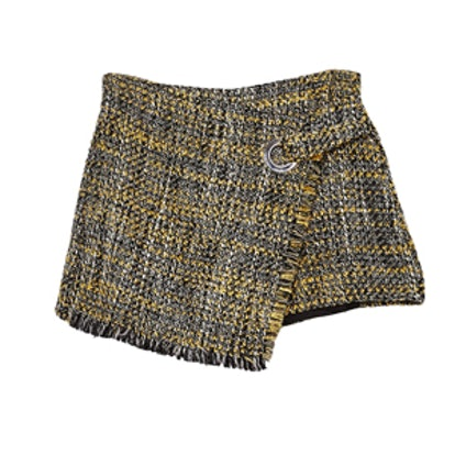 Tweed Skort With Frayed Edges