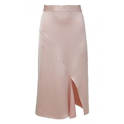 Celestia Satin Draped Pencil Skirt
