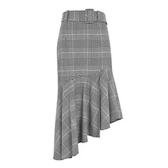 Check Belted Asymmetric Midi Skirt