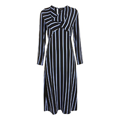 Striped Bias Midi Skater Dress