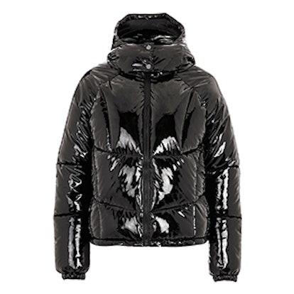 Vinyl Hooded Puffer Jacket