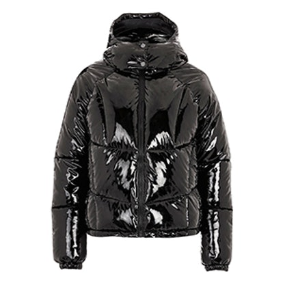 Vinyl Hooded Puffer Jacket