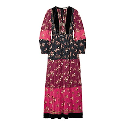 Suzana Velvet-Trimmed Printed Cotton-Blend Maxi Dress
