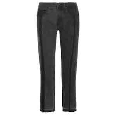 2 Tone Cropped High-Rise Straight-Leg Jeans