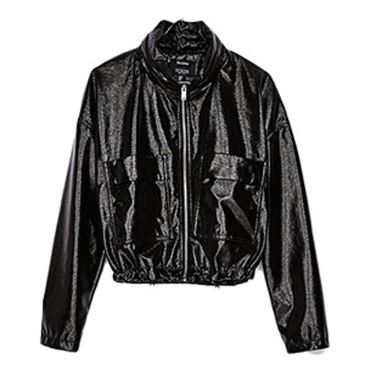 Hooded Jacket With Patent Finish