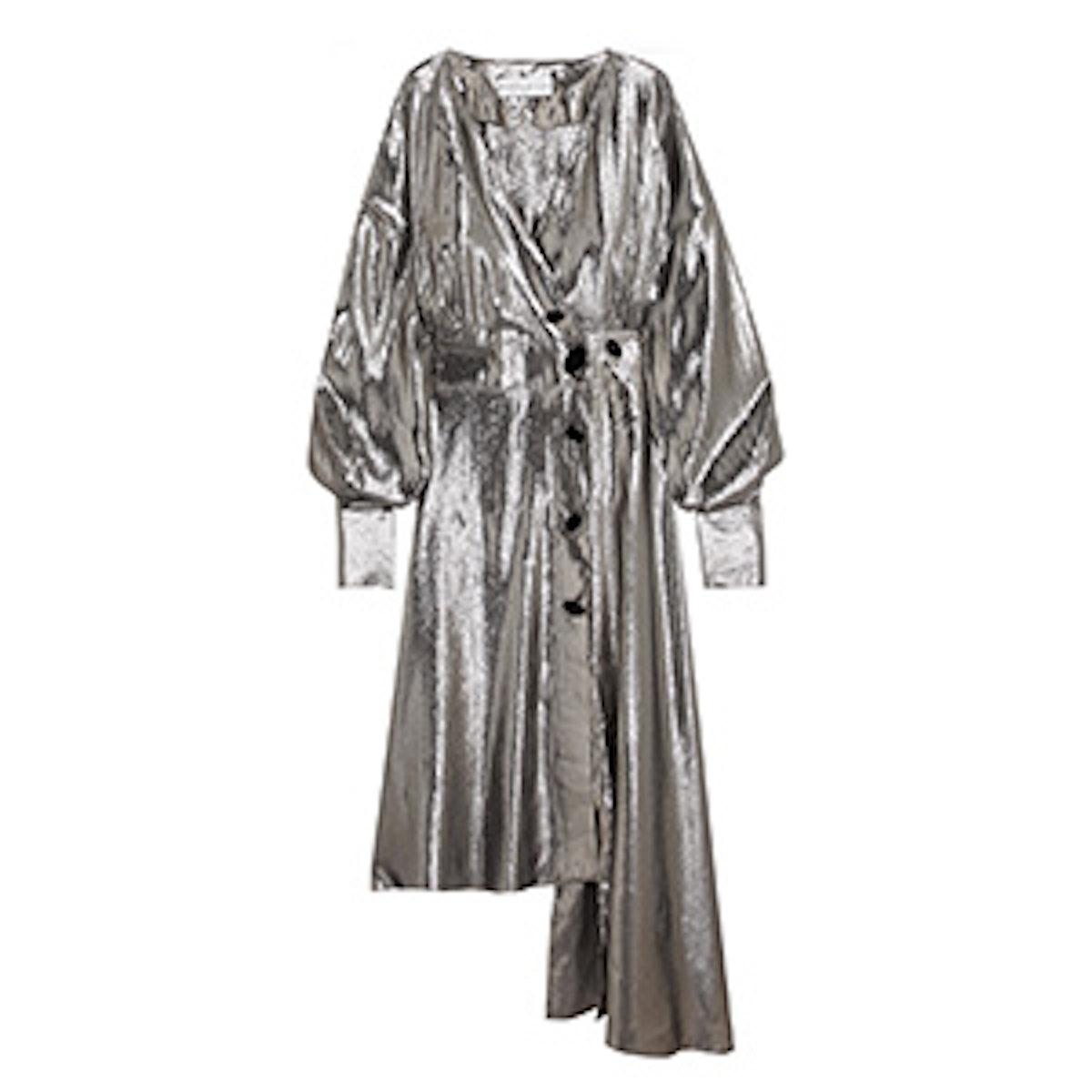 Silk-Blend Lamé Wrap Dress