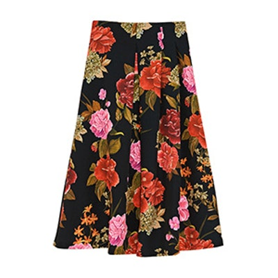 Midi Skirt With Box Pleat Front