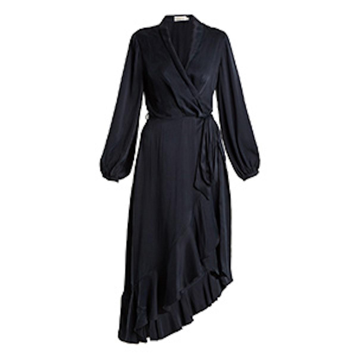 Flounce Asymmetric Silk Wrap Dress