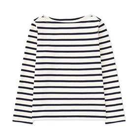Striped Boat Neck Long-Sleeve T-Shirt