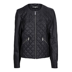 Quilt Washed Leather Jacket