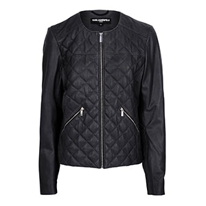 Quilt Washed Leather Jacket