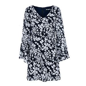 Lace V Neck Dress With Flounce Sleeve