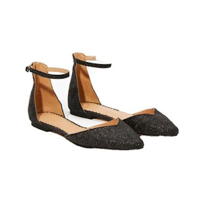 Shimmer Ankle Strap Flats
