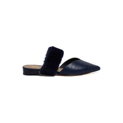 Navy Croc Faux Fur Strap Pointed Mules