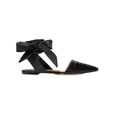 Brandie Sequined Canvas Point Toe Flats