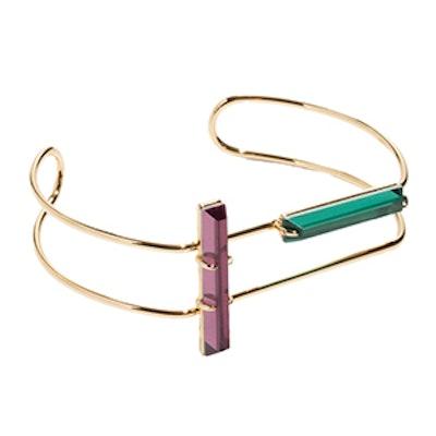 Tubular Wire Cuff With Gems