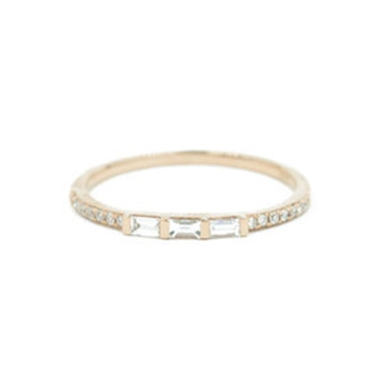 14kt Rose Gold Diamond Pave And Diamond Baguette Band