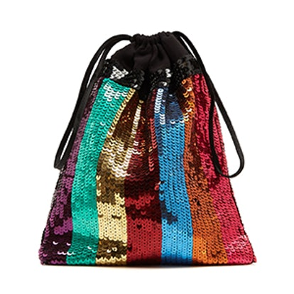 Sequin-Embellished Drawstring Pouch