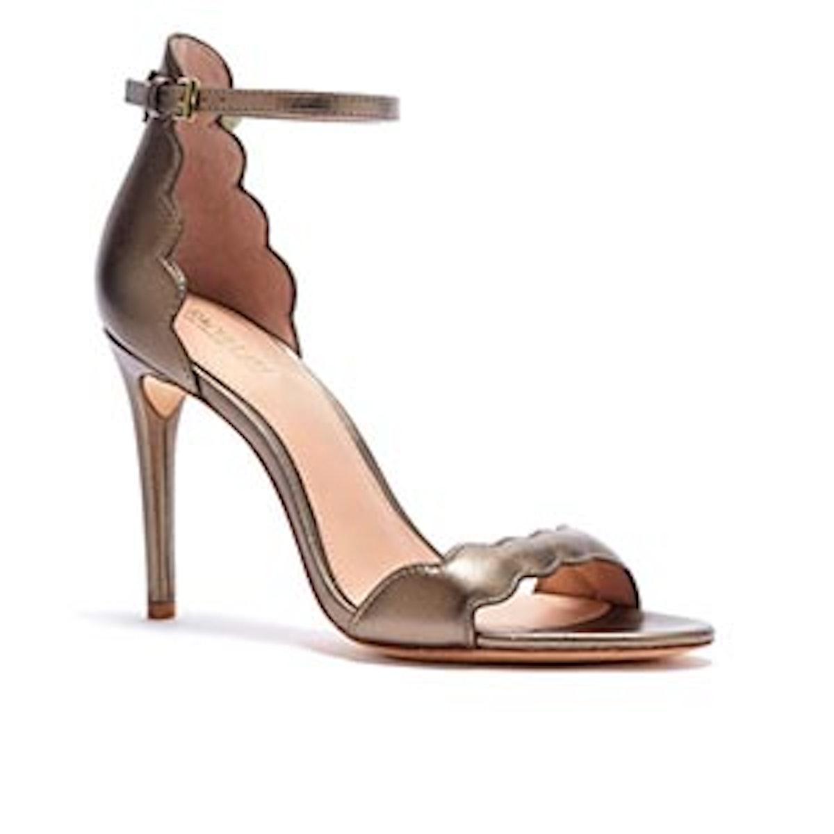 Ava Scalloped Metallic Leather Heeled Sandals