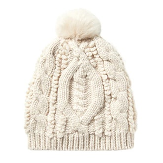 Chunky Mixed Stitch Beanie with Faux Fur
