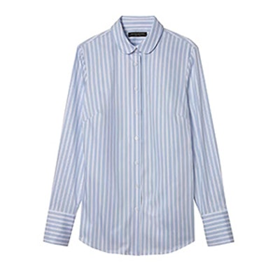 Riley-Fit Metallic Stripe Rounded-Collar Shirt
