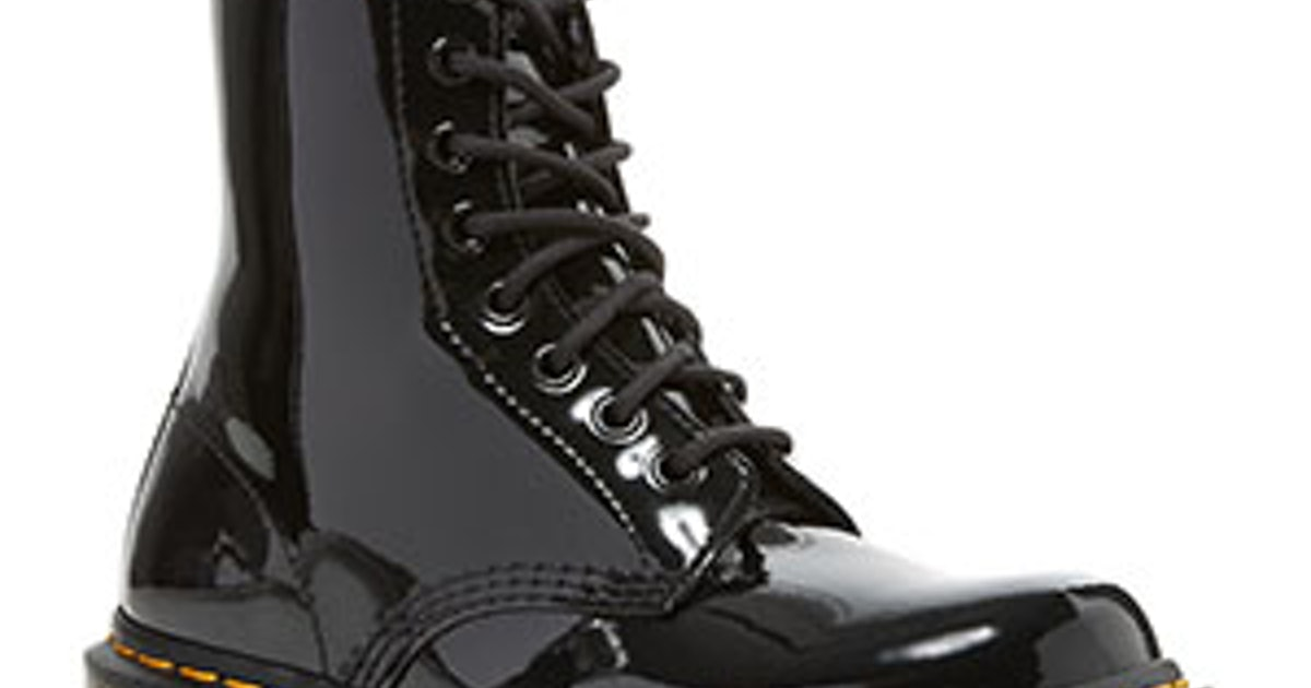 on feet images of hot-selling latest sells Women's 1460 Patent Lace Up Boots