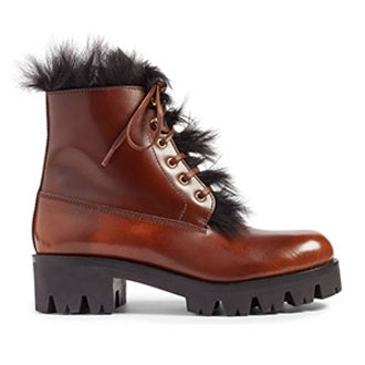 Calfskin Boot With Genuine Shearling Trim