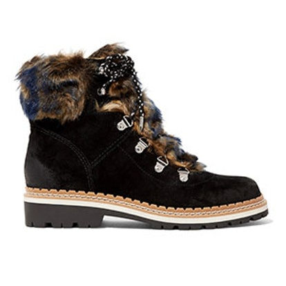 Sam Edelman Bronte Faux Shearling-Trimmed Suede Ankle Boots