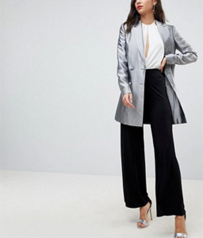 Longline Blazer In Metallic