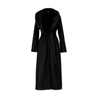 Stephanie Maxi Faux Fur Collar Wool Coat