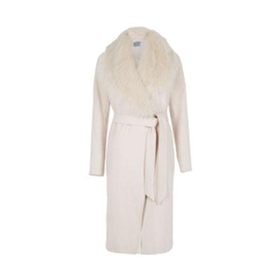 Cream Faux Fur Collar Belted Robe Coat
