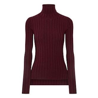 Corina Ribbed Merino Wool-Blend Turtleneck Sweater