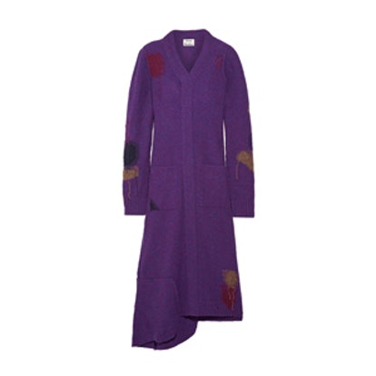 Lyneth Asymmetric Patchwork Wool Midi Dress