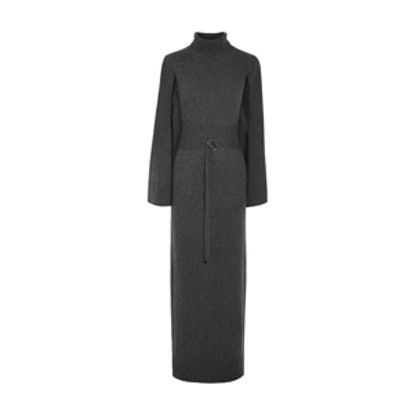 Cape-Effect Wool and Cashmere-Blend Turtleneck Maxi Dress