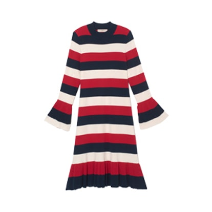 Striped Flounce Sweater Dress
