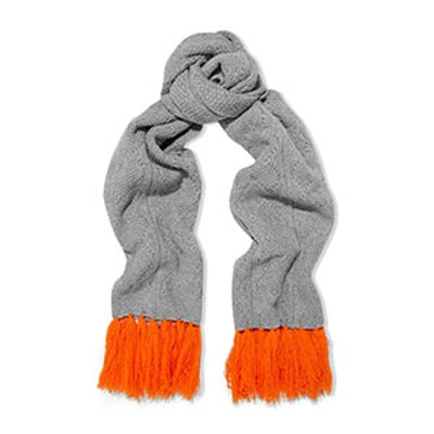 Aran Heart Fringed Cable-Knit Merino Wool And Cashmere-Blend Scarf