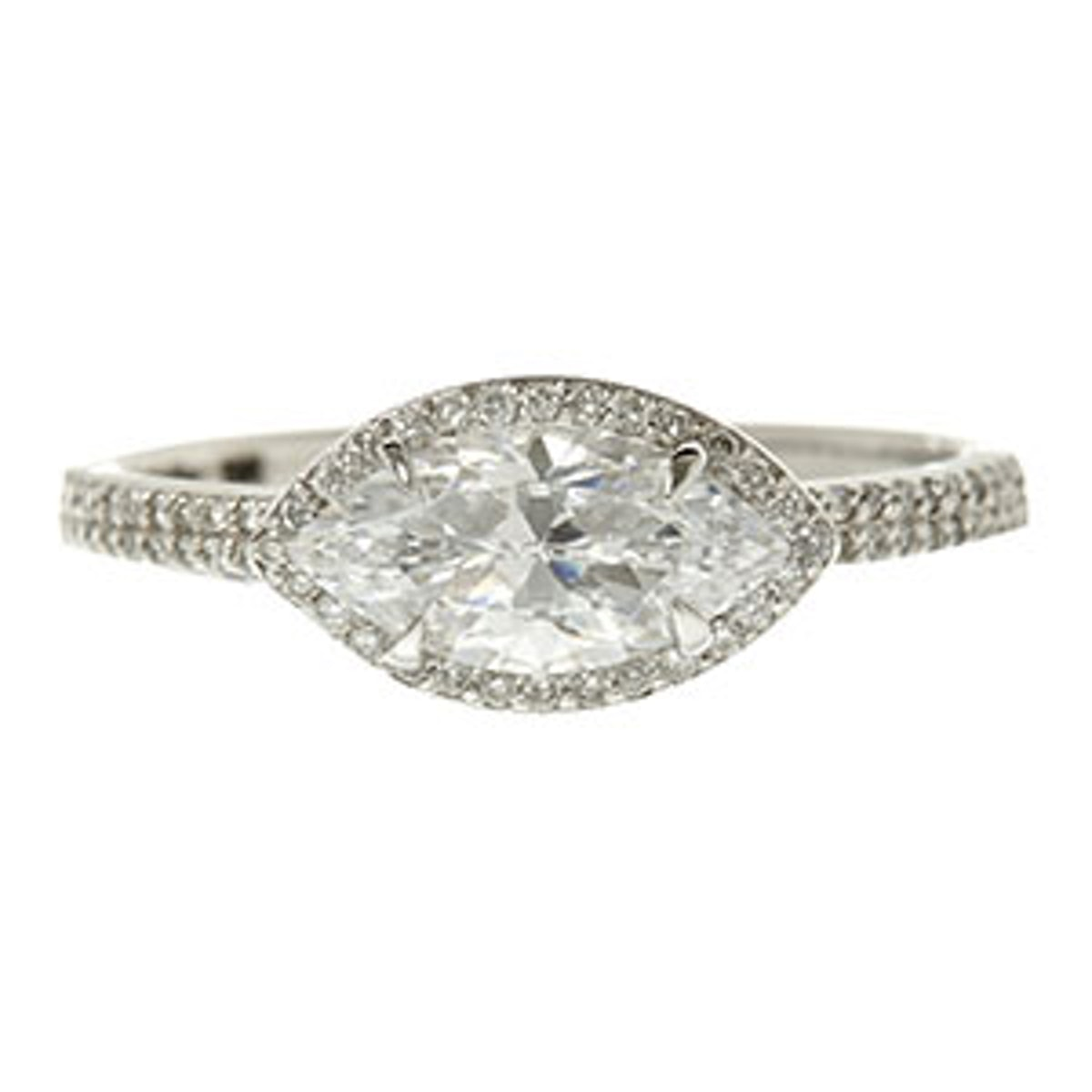 The Elodie Ring Marquie Cut Diamond Double Pavé Band
