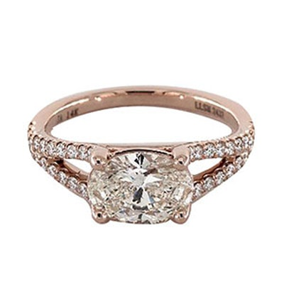 1.51 Carat Oval Cut Pavé Engagement Ring in 14K Rose Gold