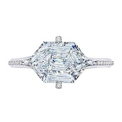 2.60 Carat Hexagonal Diamond Ring