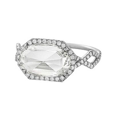 Antique Rose Cut Oval-Shaped White Diamond in White Diamond Pavé