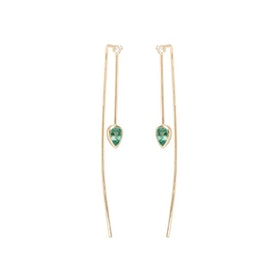 14K Emerald And White Diamond Wire Earrings