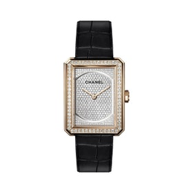 Boy·Friend Watch in Beige Gold and Dial Set with Diamonds, Alligator Strap